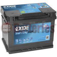 Μπαταρία Αυτοκινήτου EXIDE AGM EK600 Start Stop 12V 60Ah 680EN A-Εκκίνησης