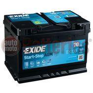 Μπαταρία Αυτοκινήτου EXIDE MICRO HYBRID EK700 Start Stop AGM  12V 70Ah 760A-Εκκίνησης